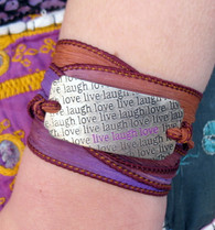 Live Laugh Love - Silk Ribbon Wrap Bracelet