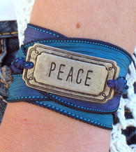 Peace - Silk Ribbon Wrap Bracelet