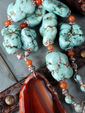 Chunky Turquoise Necklace With Agate Pendant