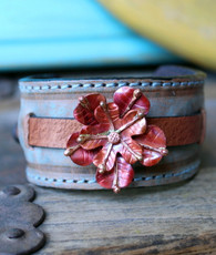 Desert Flower Leather Cuff