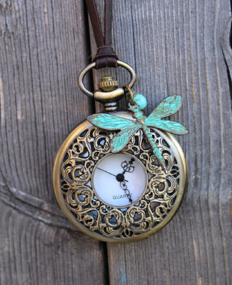 Dragonfly Pocket Watch Necklace