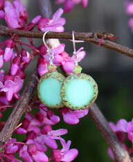 Raindrop Earrings - Mint Green Czech Glass