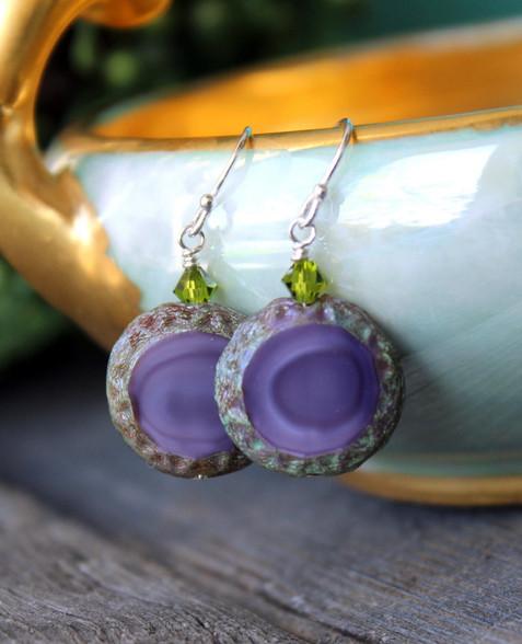 Raindrop Earrings - Purple Czech Glass