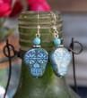 Blue Sugar Skull Earrings, genuine sterling silver, hypoallergenic jewelry