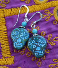 Blue Sugar Skull Earrings, genuine sterling silver, hypoallergenic jewelry