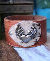Winged Heart Recycled Leather Cuff
