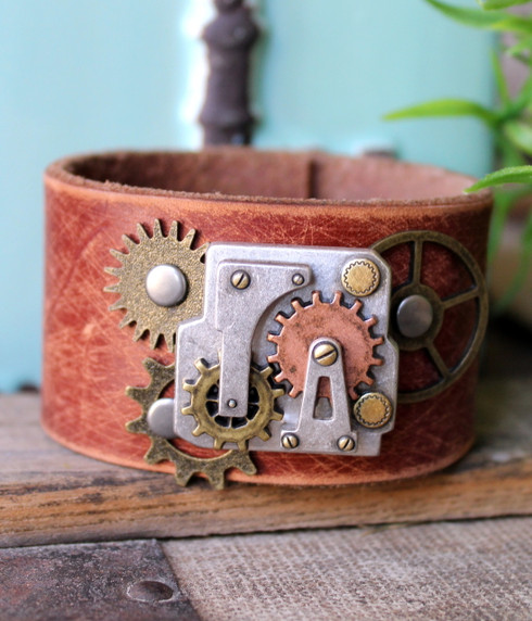 Steampunk Recycled Leather Cuff