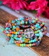 Multi Color Beaded Wrap Necklace and Bracelet - Bohemian Jewelry by Ever Designs Jewelry