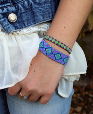 Hand Loomed Beaded Bracelet - Blue Purple Diamond Pattern - Sasha