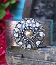 Silver Recycled Leather Cuff Rhinestone Bling Dressy Boho Chic Bracelet Cleopatra