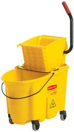 Rubbermaid WaveBrake Mop Bucket/Wringer Combo, 35 qt Bucket, Yellow, Side Press, Plastic/Steel, 1 Set Per Carton