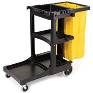 "Rubbermaid Janitor Carts, 21-3/4"" W x 46"" L x 38-3/8"" H, 20.8 Gal, Black/Yellow, Plastic/Vinyl (1 Per Carton)"