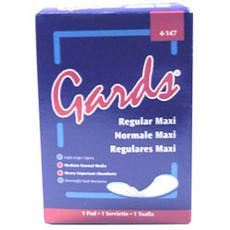 """Gards Sanitary Napkin, 3"""" W x 4-1/4"""" L x 1"""" H, White, Vend Box (250 Per Carton)"""