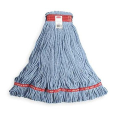 "Web Foot Wet Mop, 1"" Head Band, Large, Blue Mop/Red Headband, Antimicrobial, Looped End, Open Twist, Cotton/Synthetic Blend,  (6 Per Carton)"