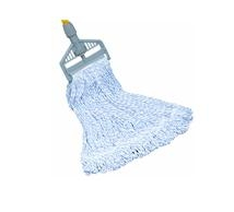 "Finish Wet Mop Head, 1"" Head Band, 24 oz, Blue/White, Looped End, Rayon (12 Per Carton)"