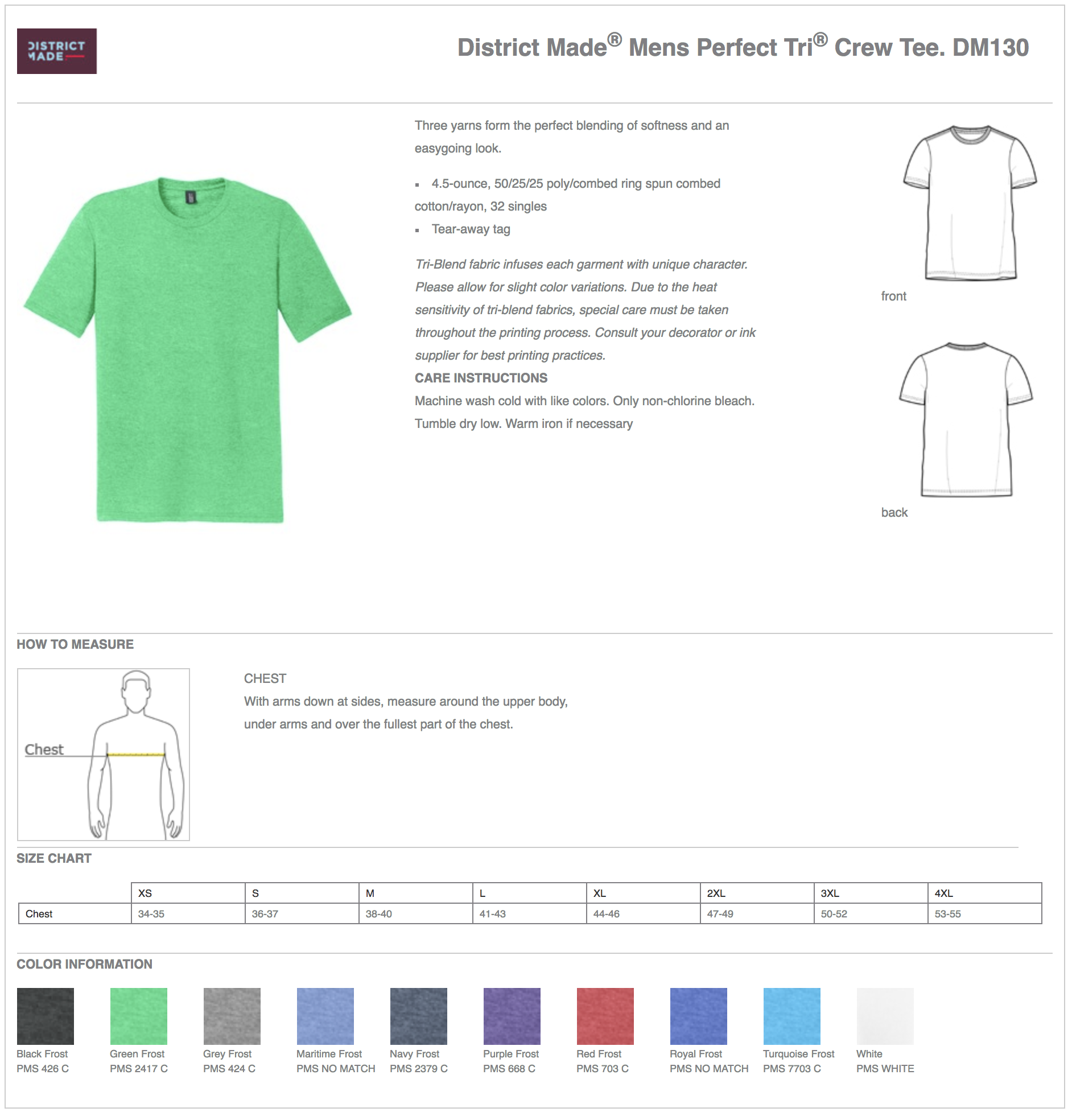 District Made DM130 Tri-Blend Custom T-Shirts