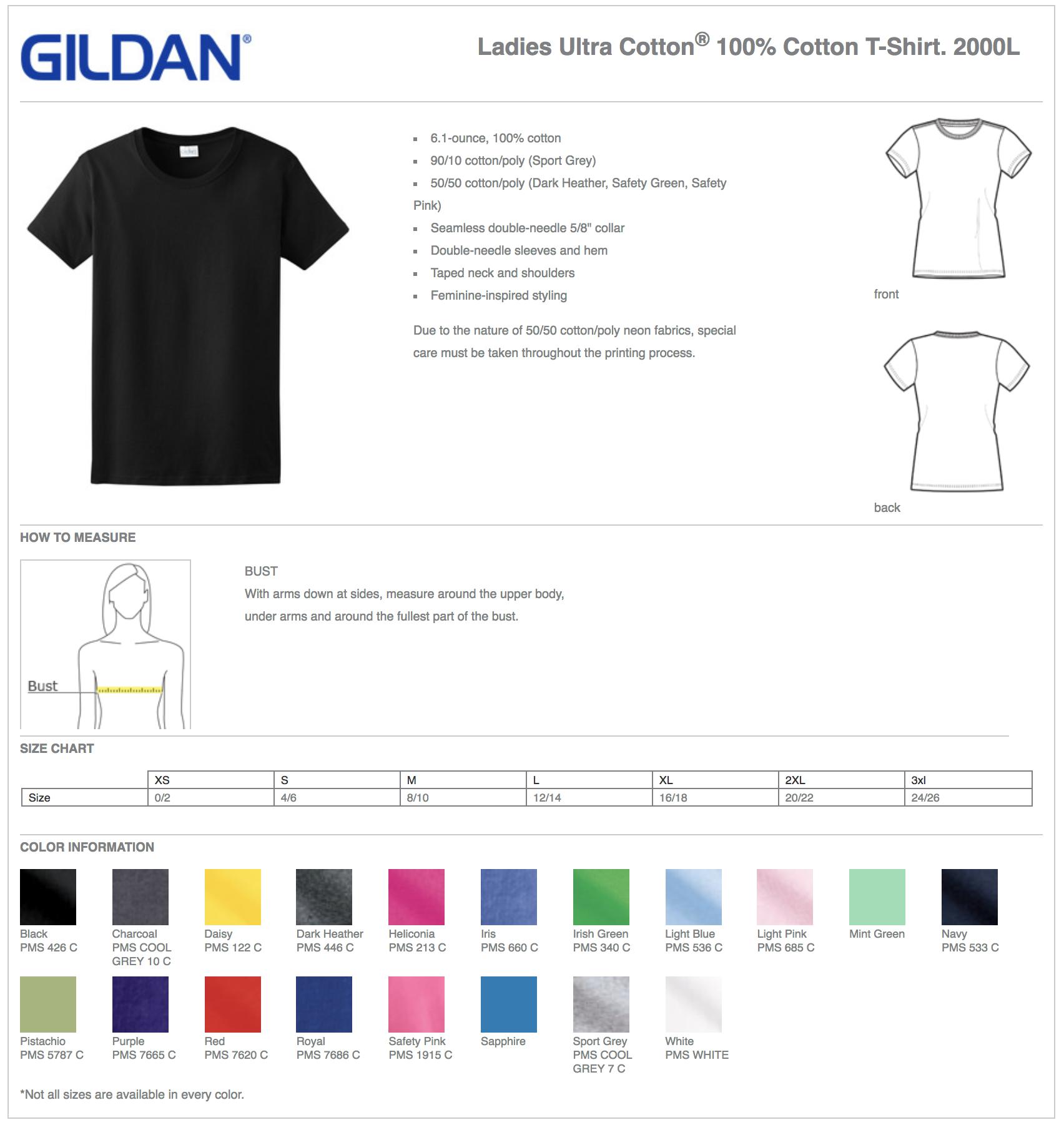 Gildan 2000L Women's Custom T-Shirts
