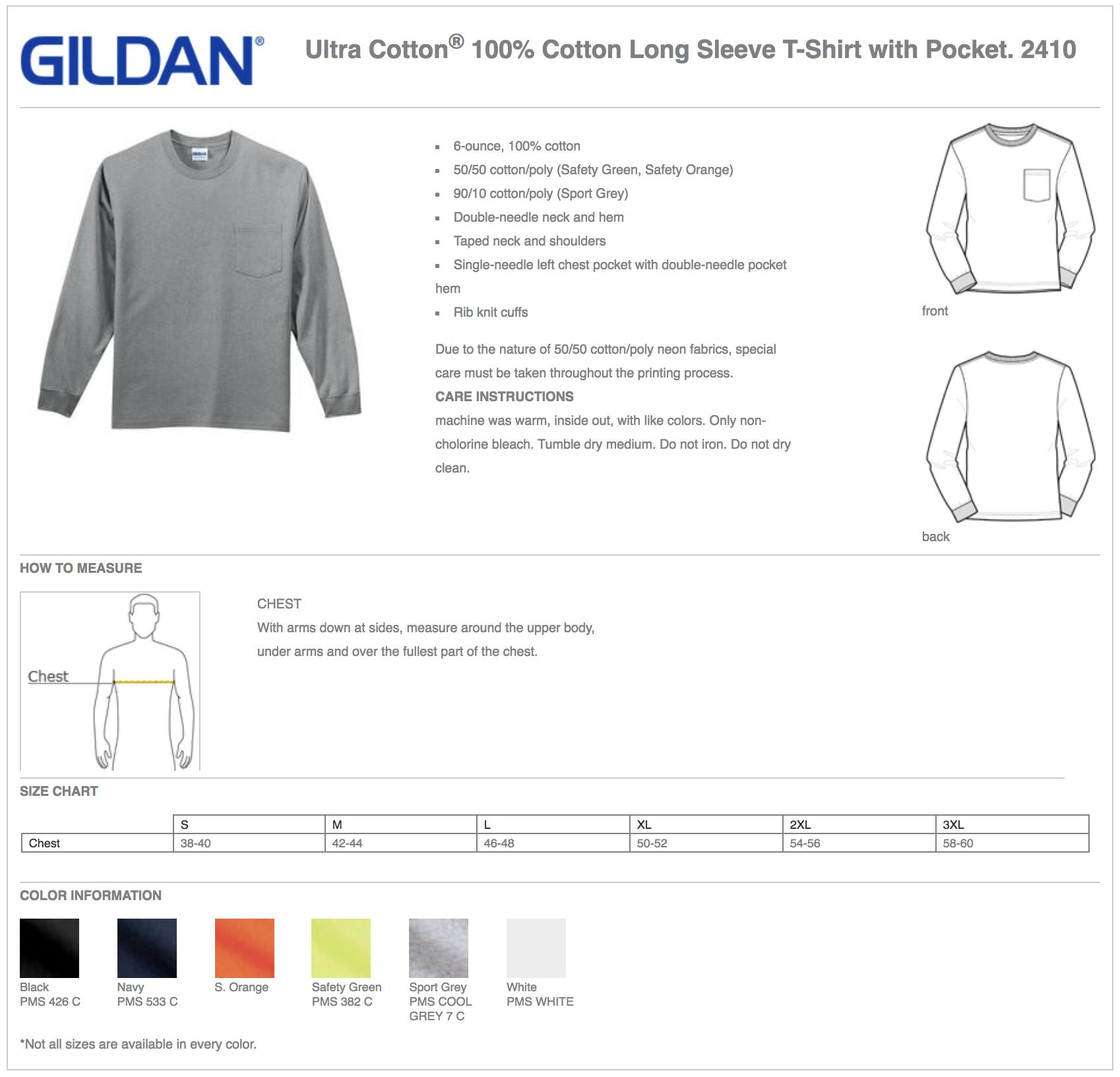 Gildan 2410 Custom Long Sleeve T-Shirts with Pocket