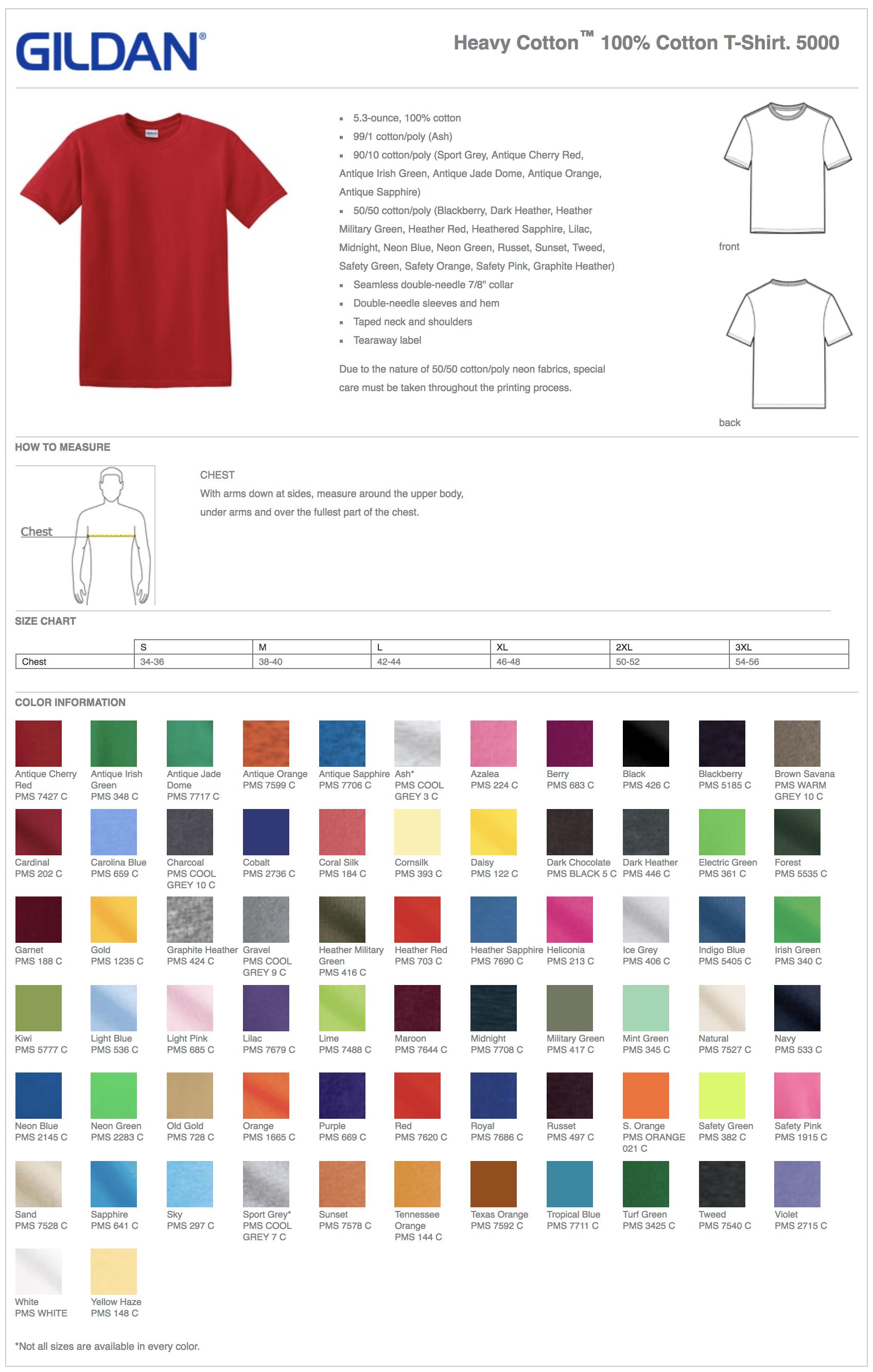 Gildan 5000 Shirt Color Chart