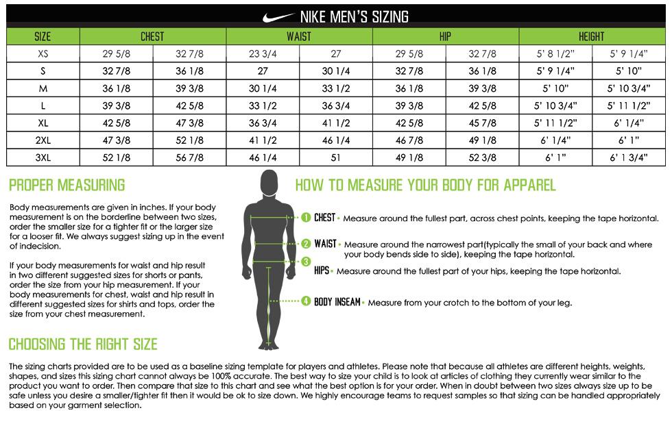 Nike Apparel Men's Sizing Chart