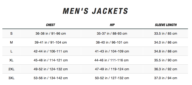Custom North Face Denali 2 Jacket Sizing Chart