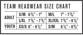 Custom Under Armour Hats - Sizing Chart