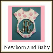 Shape Framed Monogram New Born and Baby