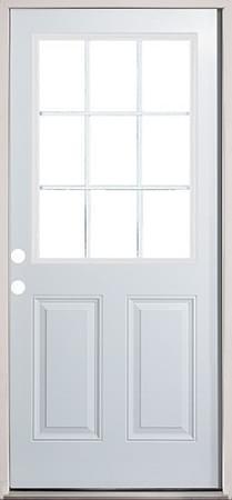 """30"""", 32"""", 36"""" 9 Lite Exterior Metal Door prehung"""