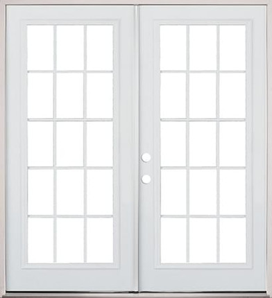 74 exterior steel french door 15 lite primed for Double opening patio doors