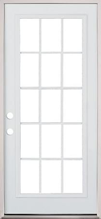 "30"", 32"", or 36"" 15 Lite Exterior Pre-Hung Primed Steel Door"
