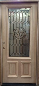 "3'0"" x 6'8"" Unfinished Mahogany Exterior Door with Texas Star"