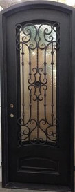 "3'0""x8'0"" Audrey Eyebrow Wrought Iron Exterior Door"