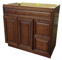 "Maple Vanity Sink Base 36"" in Mocha with Drawers on the Right"