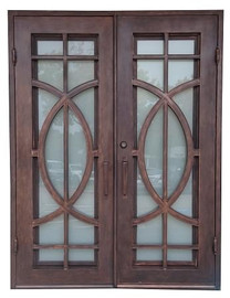 "6'0""x8'0"" Fish Exterior Wrought Iron Door - Outswing"