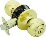 Helena Knob Entry Door Handle, Polished Brass