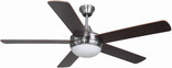 "Riverchase 52"" Dual Mount Ceiling Fan, Satin Nickel"