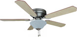 "Jupiter 52"" Flush Mount Ceiling Fan, Satin Nickel"