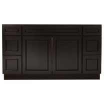 Espresso Contempo Wood Vanity Sink and 6 Drawer Base | 60""