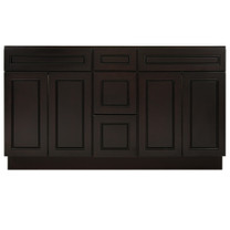 Espresso Contempo Wood Vanity Double Sink and 3 Drawer Base | 60""