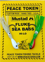 "Fluke & Black Sea Bass Rigs - 2"" Ghost Sand Eel Jig Rigs"