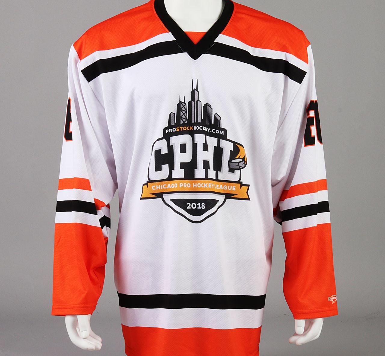 Large Orange Chicago Pro Hockey League Jersey - Nathan Clurman - Pro ... 74d006fb584