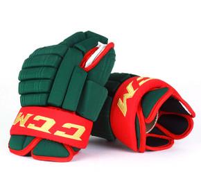 """15"""" CCM HGSTJR Gloves - Team Stock Minnesota Wild"""