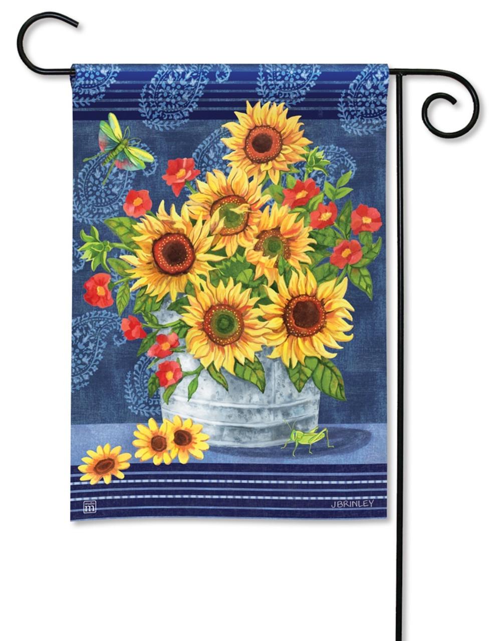 BreezeArt Outdoor Garden Flag Denim Sunflowers