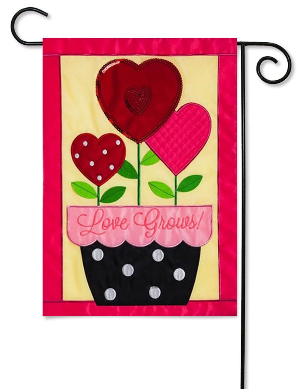 Love Grows Applique Valentine Garden Flag