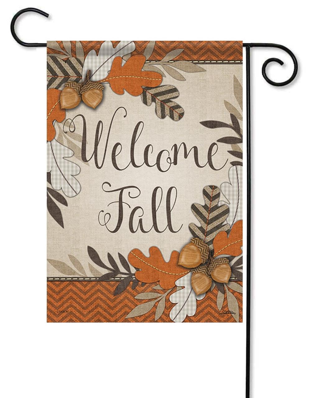 Elegant Crafty Fall Welcome Decorative Garden Flag
