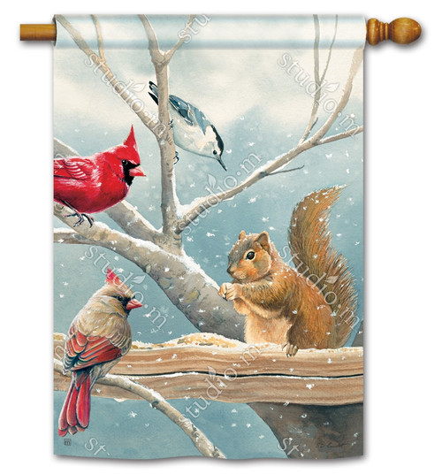 """Winter Snacktime House Flag - 28"""" x 40"""" - BreezeArt"""