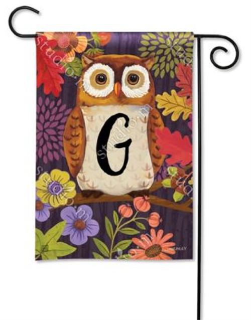 Floral Owl Monogram Garden Flag Letter G - 12.5 x 18 - BreezeArt