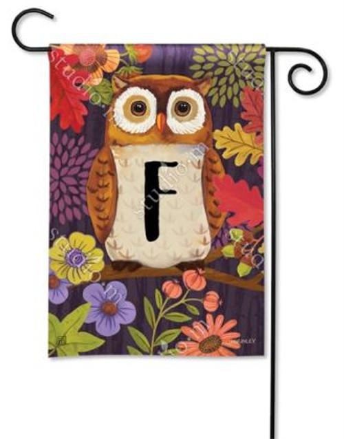 Floral Owl Monogram Garden Flag Letter F - 12.5 x 18 - BreezeArt
