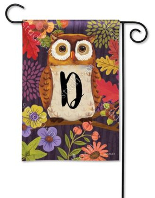 Floral Owl Monogram Garden Flag Letter D - 12.5 x 18 - BreezeArt