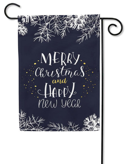 Merry Christmas, Happy New Year Gold Foil Christmas Garden Flag